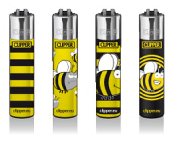 "CLIPPER-Feuerzeuge - Motiv ""Spring Bee"" (Biene) - 4 Stück - nachfüllbar"